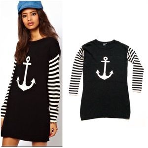 ASOS Anchor Sweater Dress Striped Sleeves